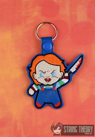 Chibi Evil Doll snap tab key fob ITH 4x4 machine embroidery design