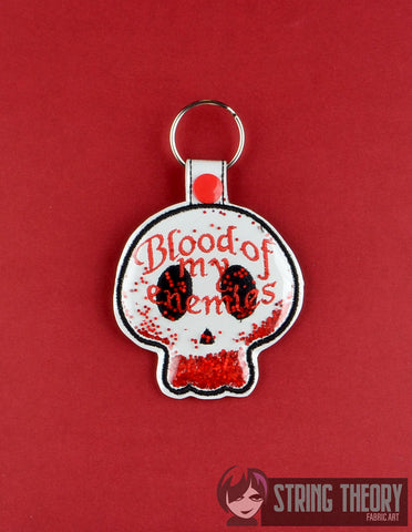 Blood of my enemies trapped clear vinyl fob ITH 4x4 machine embroidery design