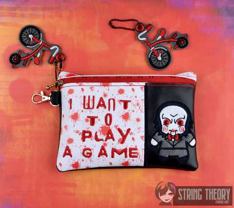 Puzzle Killer I want to play a game ITH 5x7 zip bag with tricycle dangle