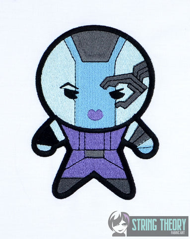Chibi Blue Space Hero 5x7 machine embroidery design
