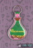 Wormwood poison bottle trapped snap tab key fob ITH 4x4 machine embroidery design