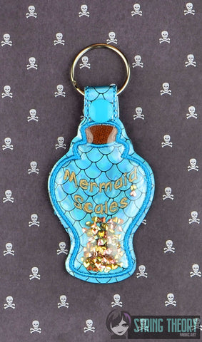 Mermaid Scales poison bottle trapped snap tab key fob ITH 4x4 machine embroidery design