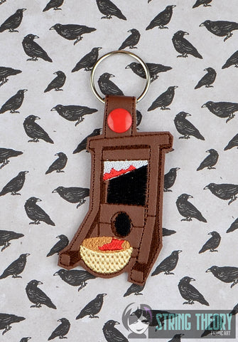 Guillotine snap tab key fob ITH 4x4 machine embroidery design