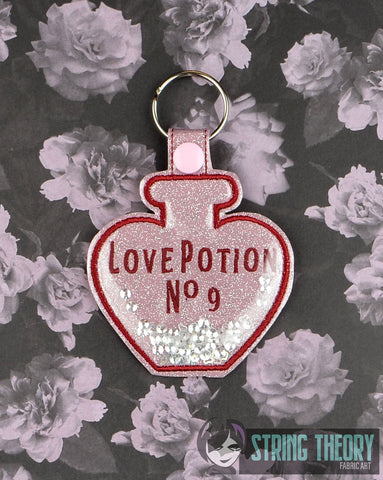 Love Potion No 9 poison bottle clear vinyl trapped snap tab key fob ITH 4x4 machine embroidery design