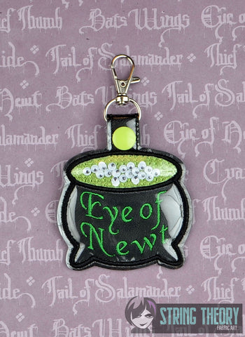 Eye of Newt poison bottle trapped snap tab key fob ITH 4x4 machine embroidery design