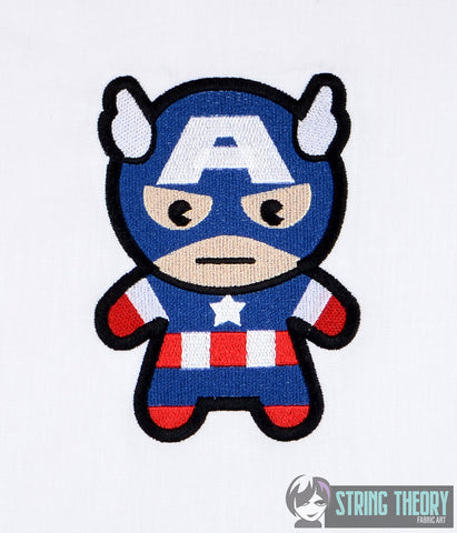 Chibi Captain USA 5x7 machine embroidery design