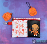 Scarecrow Boy Trick or Treat  ITH 5x7 zip bag with Evil Pumpkin dangle