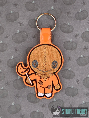 Chibi Scarecrow Boy Trick or Treat snap tab key fob ITH 4x4 machine embroidery design