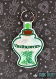 Harry Potter Veritaserum poison bottle clear vinyl trapped snap tab key fob ITH 4x4 machine embroidery design