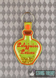 Harry Potter Polyjuice Potion poison bottle clear vinyl trapped snap tab key fob ITH 4x4 machine embroidery design