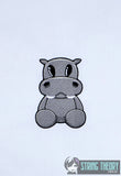Cute hippopotamus 4x4 machine embroidery design