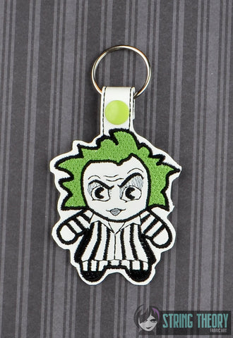 Chibi Beetlejuice  snap tab key fob ITH 4x4 machine embroidery design
