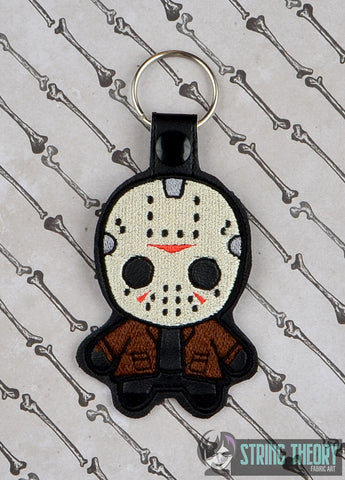 Chibi Lake Slasher Friday the 13th snap tab key fob ITH 4x4 machine embroidery design