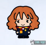 Spell Academy Chibi Frizzy Haired Girl Student 5x7 machine embroidery design