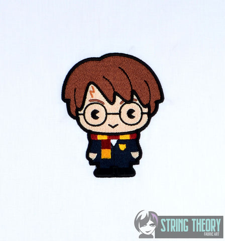 Spell Academy Chibi Boy Student with Glasses 4x4 machine embroidery design
