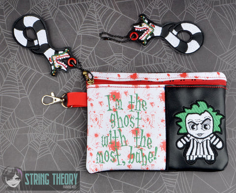 Chibi BeetleJuice I'm the ghost with the most, babe  ITH 5x7 zip bag with Sandworm dangle