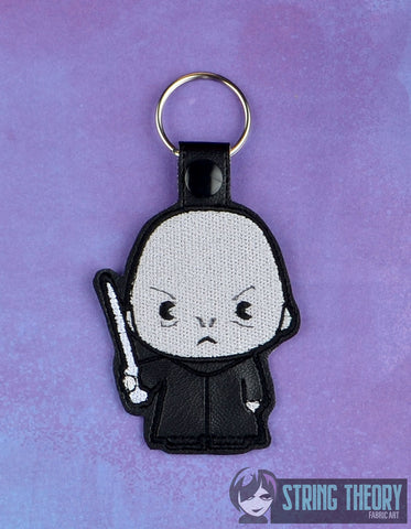 Spell Academy Chibi Evil Bald Magician snap tab key fob ITH 4x4 machine embroidery design