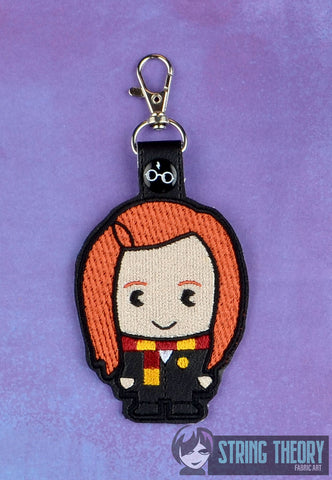 Spell Academy Chibi Red Haired Girl Student snap tab key fob ITH 4x4 machine embroidery design