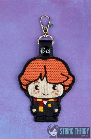 Spell Academy Chibi Red Hair Boy Student  snap tab key fob ITH 4x4 machine embroidery design