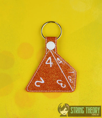 D4 dice snap tab key fob ITH machine embroidery design
