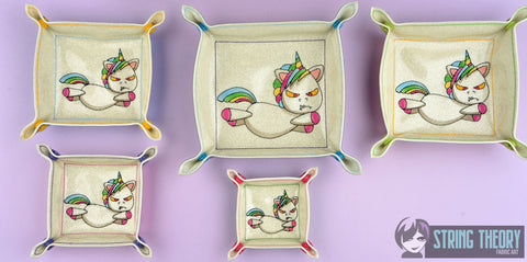 Shanky the unicorn portable dice tray FIVE sizes ITH machine embroidery design