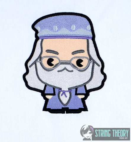 Harry Potter Chibi Dumbledore 5x7 machine embroidery design
