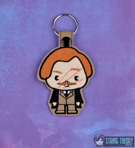Harry Potter Chibi Remus Lupin snap tab key fob ITH 4x4 machine embroidery design