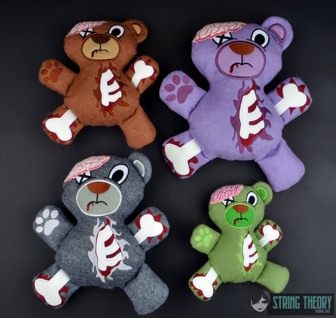 ZomBear stuffie SET 4 SIZES ITH machine embroidery design