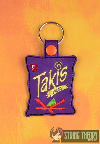 Takis snap tab key fob ITH 4x4 machine embroidery design
