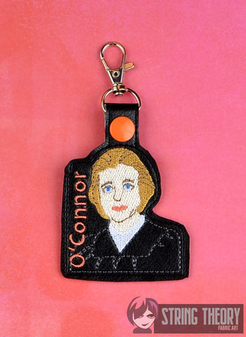 Justice Sandra Day O'Connor snap tab key fob ITH 4x4 machine embroidery design