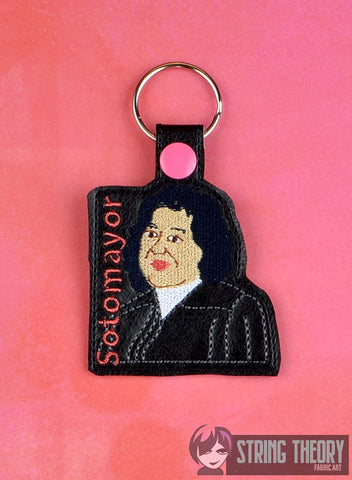 Justice Sonia Sotomayor snap tab key fob ITH 4x4 machine embroidery design
