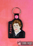 Justice Elana Kagan snap tab key fob ITH 4x4 machine embroidery design