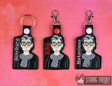 RBG SET snap tab key fob ITH 4x4 machine embroidery design