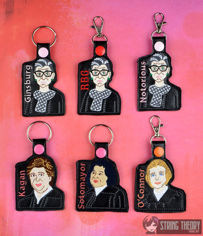 The Supremes Women of SCotUS fob SET RBG SET snap tab key fob ITH 4x4 machine embroidery design