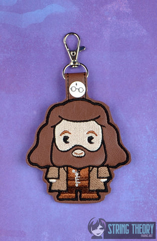 Harry Potter Chibi Hagrid snap tab key fob ITH 4x4 machine embroidery design