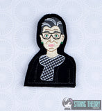 Associate Justice Ruth Bader Ginsburg ITH finger puppet with lining machine embroidery design 4x4