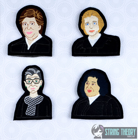 Supreme Court Women of SCotUS finger puppet set with lining 4x4 machine embroidery designs
