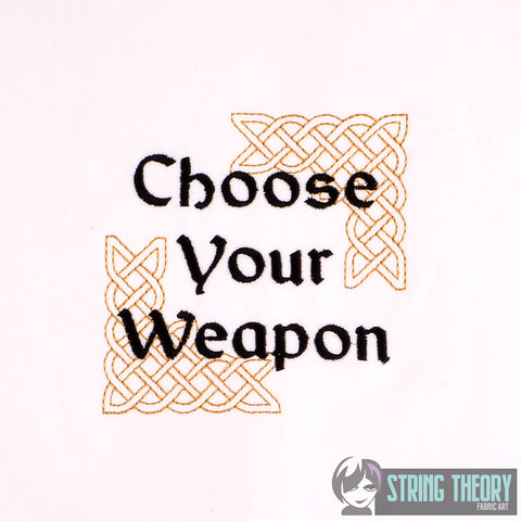 Choose Your Weapon Dice Bag Bling 4x4 machine embroidery design