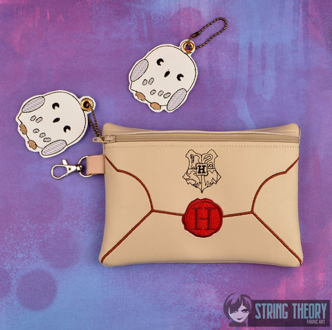 Hogwarts Letter zip bag with optional back panel ITH 5x7 with Hedwig dangle