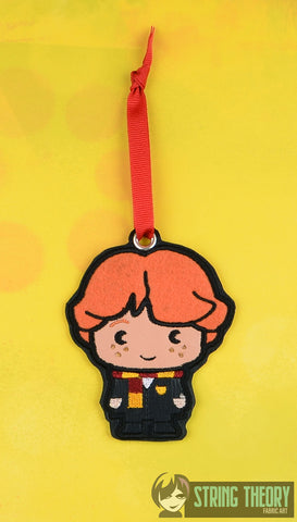 Spell Academy Chibi Red Haired Boy Student ornament ITH machine embroidery design 4x4