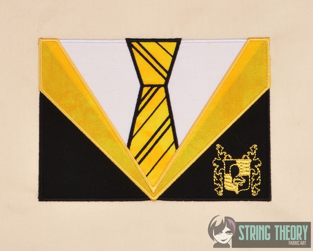 Hufflepuff house tie applique horizontal and vertical machine