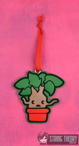 Spell Academy Chibi Yelling Plant ornament ITH machine embroidery design 4x4