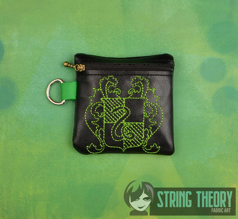 Slytherin Light Stylized House Crest ITH zip bag 4x4 machine embroidery design