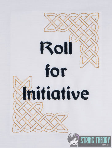 Roll for Initiative 5x7 machine embroidery design