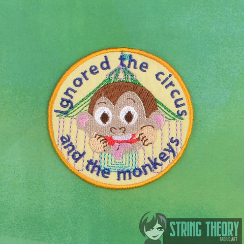 Adult Merit Badge Ignored the Circus and the monkeys Badge/Patch/Appliqué 4x4 embroidery pattern