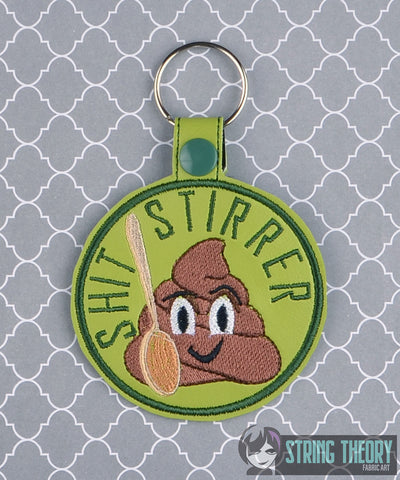 Adult Merit Badge Shit Stirrer snap tab key fob ITH 4x4 machine embroidery design