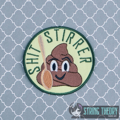 Adult Merit Badge Shit Stirrer patch applique 4x4 machine embroidery design