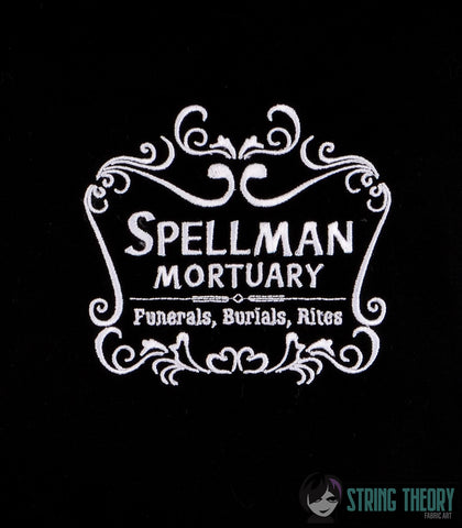 Teen Witch Spellman Mortuary 5x7 machine embroidery design