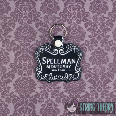 Teen Witch Spellman Mortuary snap tab key fob ITH 4x4 machine embroidery design