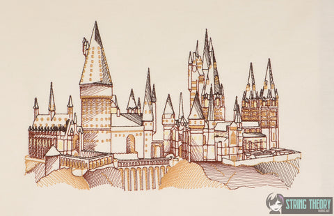 Spell Academy Sketched Castle 6x10 Machine Embroidery Design
